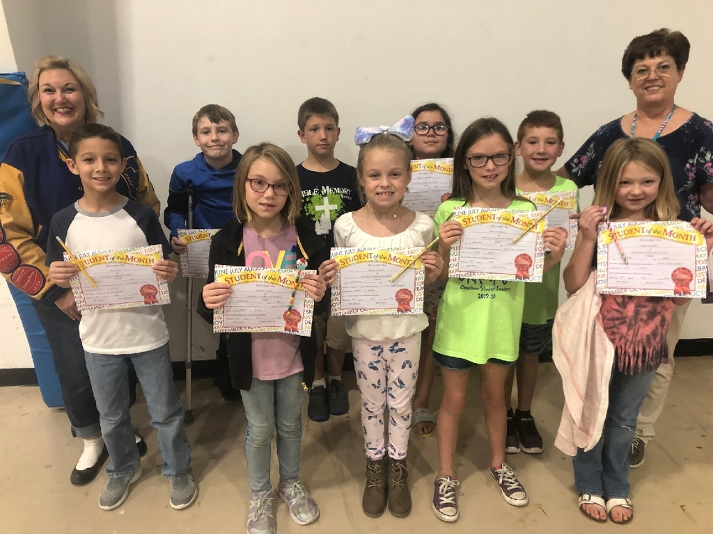 August Students of the Month. RESPECT! Front: Nicholas Reed, Crystal Gudde, Amelia Wassom, Rielynn Hurley, Flora Vaughn  Back: Travis Tracy, Mason Yoder, Serenity Morrison, Boston Messer.   Not pictured is Raddley Pruett